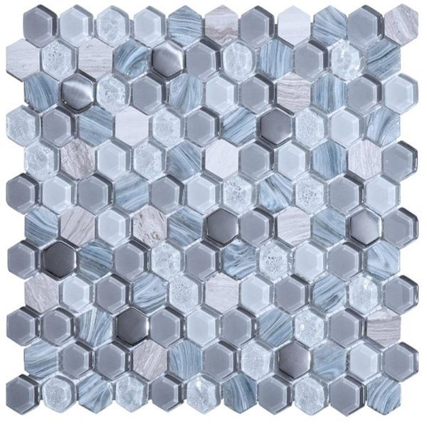 1 Hexagon Pattern Living Grey Glass And Marble Mosaic Tile Hexagon Pattern Living Grey Glass Marble Mosaic Marble Mosaic Marble Mosaic Tiles Mosaic Tiles