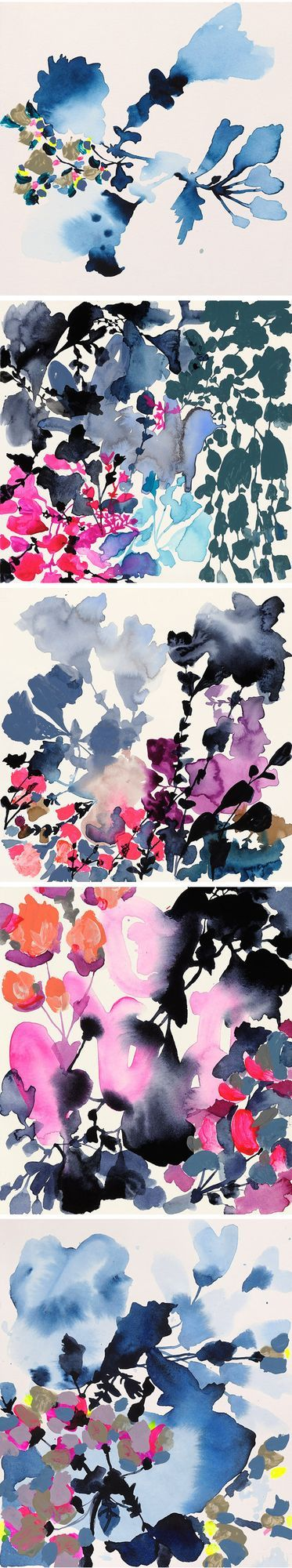 Ok, those color palettes are killing me. Neon and navy? Gorgeous! These stunning, modern florals are the work of American artist Jen Garrido… and I want allllllll of them.