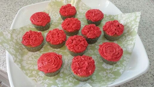Rose piping on basic vanilla cupcakes