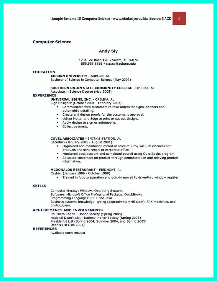 what you will include in the computer science resume depends on the training as well as - Inexperienced Resume Examples