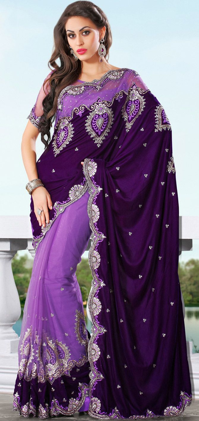 Designer #Wedding Velvet #Saree In #Embroidered Pattern | Shop It Here: http://www.sareegalaxy.com/pages/itemlarge.aspx?itemcode=SSV2B7245