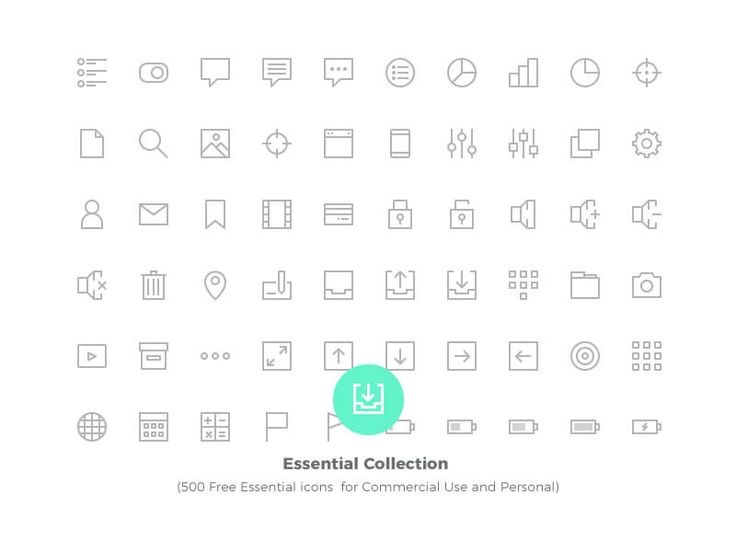 500 Free Essential Vector icons