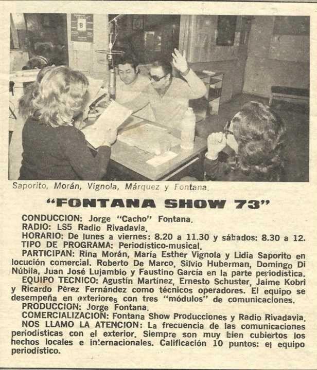 Publicidad del programa FONTANA SHOW. Conducción Jorge Cacho Fontana, Radio Rivadavia, Buenos Aires, 1973.
