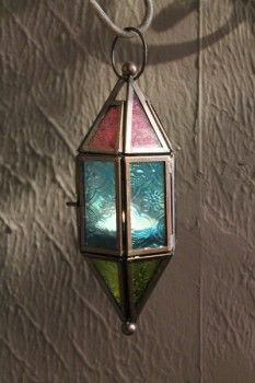 Glass candle holder - multicoloured