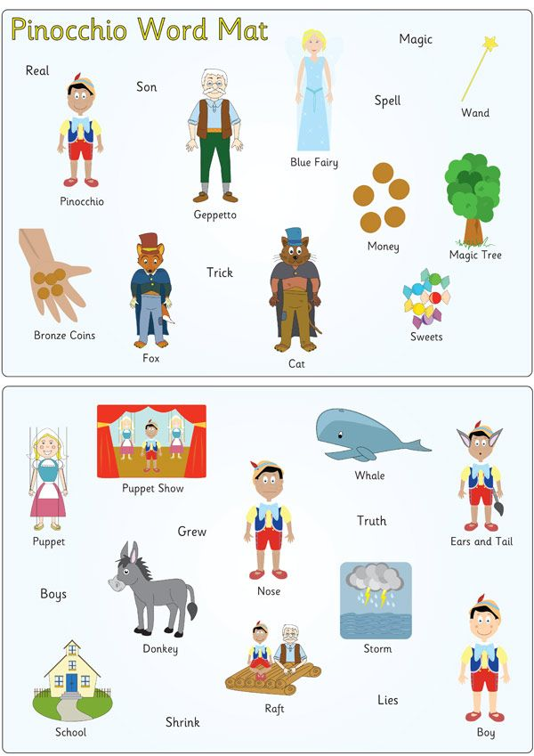 Pinocchio Word and Image Mats