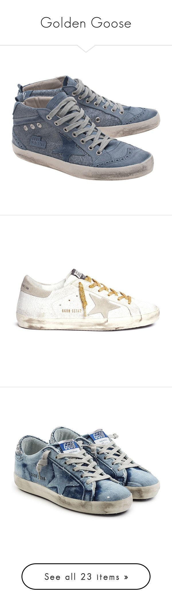 """""""Golden Goose"""" by tina-teena ❤ liked on Polyvore featuring shoes, sneakers, distressed sneakers, blue leather sneakers, leather sneakers, blue sneakers, golden goose sneakers, glitter sneakers, leopard wedge sneakers and lace up sneakers"""