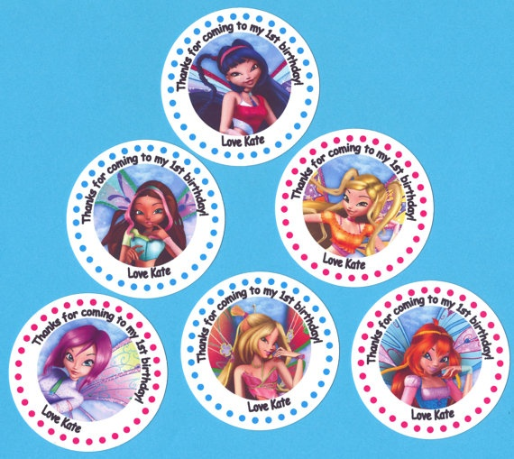 Winx Club Fairy Birthday Party Personalized Stickers by PartyBees, $16.00