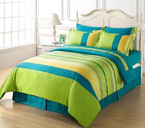 Chezmoi Collection 8 Piece Soft Blue Green Yellow Striped