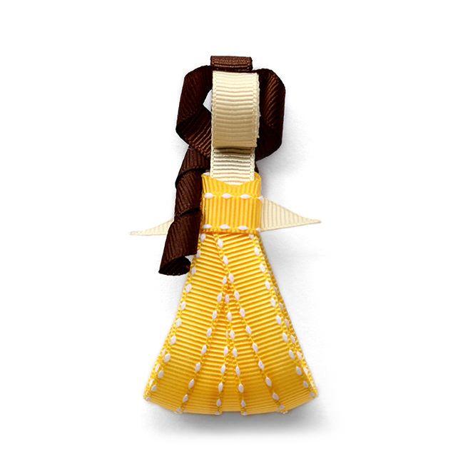 Princesa Generosa. Adorno de listón para el cabello montado en pinza metálica. http://marimora.com/princesas.html