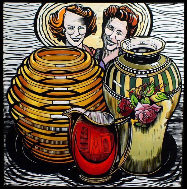 Pat and Joy's Treasures by Gail Kellett, 70cm w x 70cm h