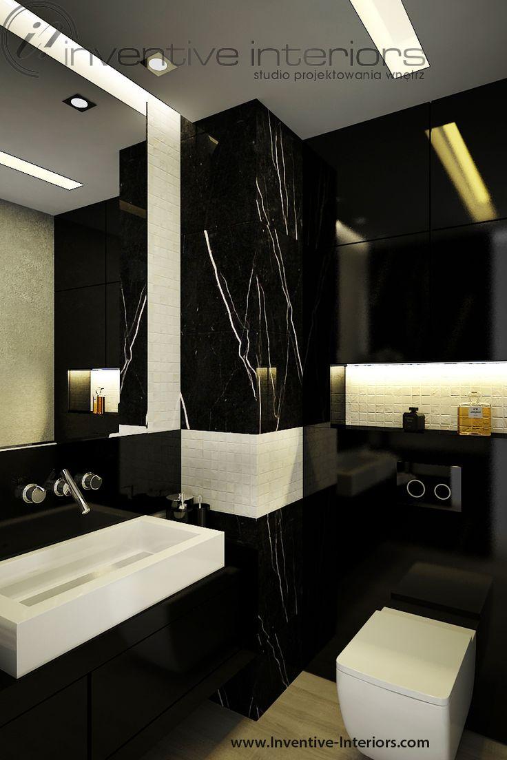 Projekt apartamentu 130m2 Inventive Interiors - luksusowa czarna łazienka - masa perłowa i marmur w łazience