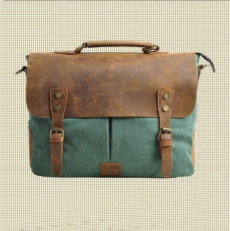 Genuine Leather Canvas cross- body bag / Briefcase / Messenger bag / 14' Laptop bag / 13' 15' MacBook / Satchel (M1807-Green)