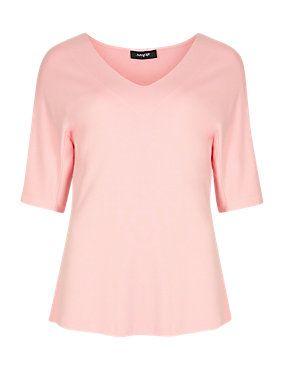 Pale Pink V-Neck Top