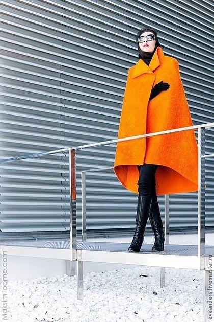 Верхняя одежда ручной работы. Заказать Ярко оранжевая накидка.. Eve Anders. Ярмарка Мастеров. Нуновойлок, шелк шифон, пончо