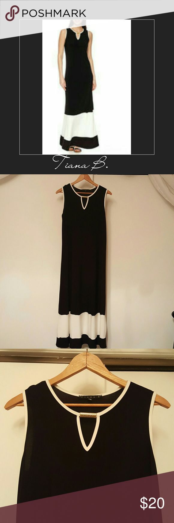 Tiana B Sleeveless Colorblock Keyhole Dress Worn once, very comfortable.  95% Polyester 5% Spandex  Reasonable offers welcome Tiana B. Dresses Maxi