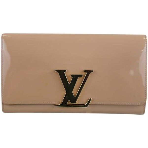 Pre-owned Louis Vuitton Louis Patent Leather Flap Nude Clutch found on Polyvore featuring bags, handbags, clutches, nude, louis vuitton pochette, metallic handbags, louis vuitton clutches, pre owned handbags and preowned handbags