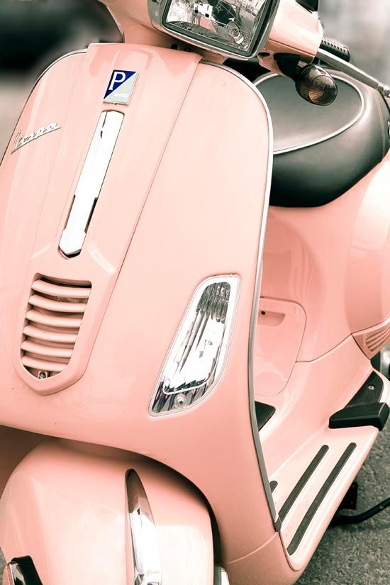 Pink Vespa hipster mod home decor retro modern peach by Raceytay, $30.00