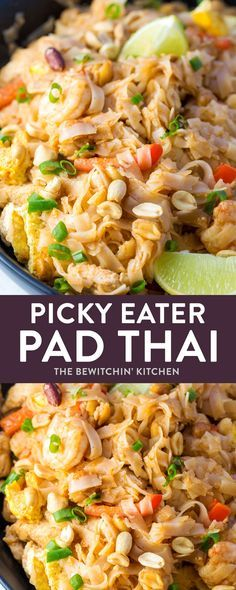 Pad Thai for picky eaters! Looking for a way to try rice noodles and a gluten free recipe? This simple Pad Thai recipe makes a quick and fun dinner but without ingredients that may cause a fight. It's easy to make your own by adding veggies and different proteins (like tofu, chicken, or shrimp).