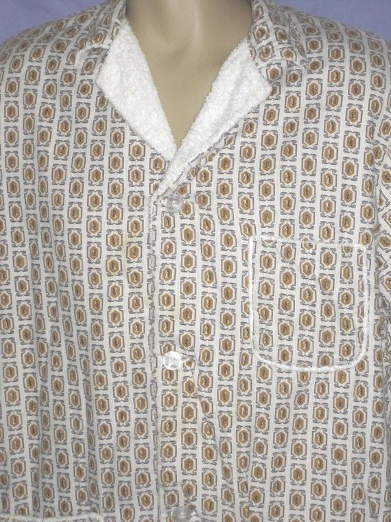 Vintage 50s Men S Beach Chess Print Terry Cloth Cover Up