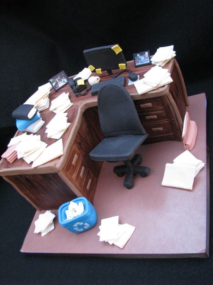 Retirement Desk cake (he is known for his messy desk - this was actually clean in comparison ;)) ....ihateveggies cakes