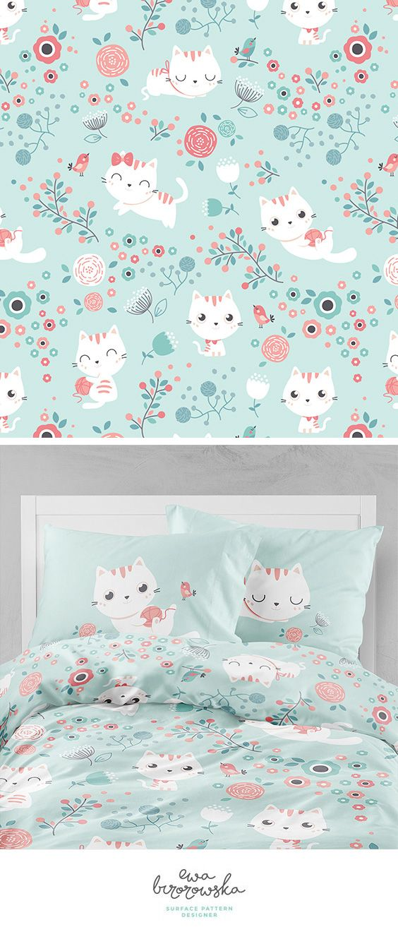 Cute cats - textile surface pattern design with white cats on mint background with coral elements and floral.