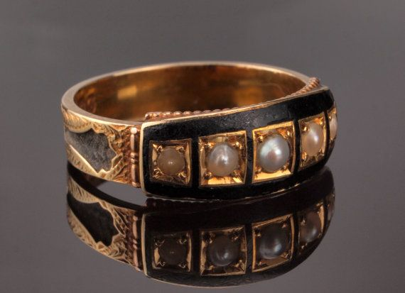 Black Mourning Ring for Memento Mori and to by BelmontandBellamy