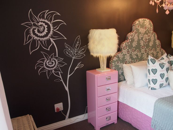 Bringing the fabric flower to the wall.  Flower wall decal/vinyl