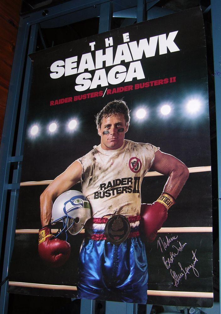vintage steve largent seattle seahawks signed poster