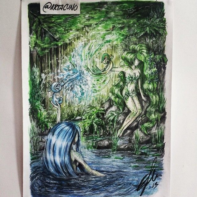 Done with my @racrylics assignment. Theme was nature so I drew a forest, a lake... and pokemon..?! o.0 idk.. Drawn with Stabilo color pencils, Faber-Castell grey markers & white paint :) #drawing #draw #pokemon #horsea #snivy #anime #manga #mermaid #fairy #nature #animeart #art