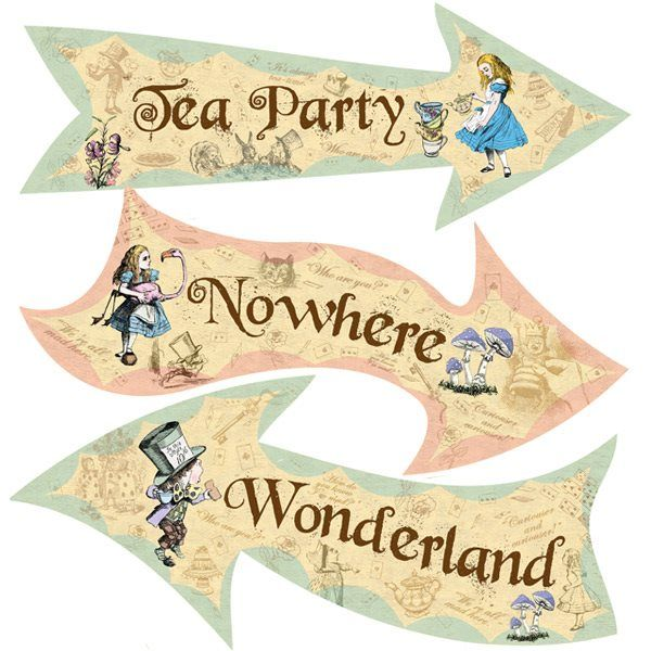 Beautiful vintage alice in wonderland signs - great party props.