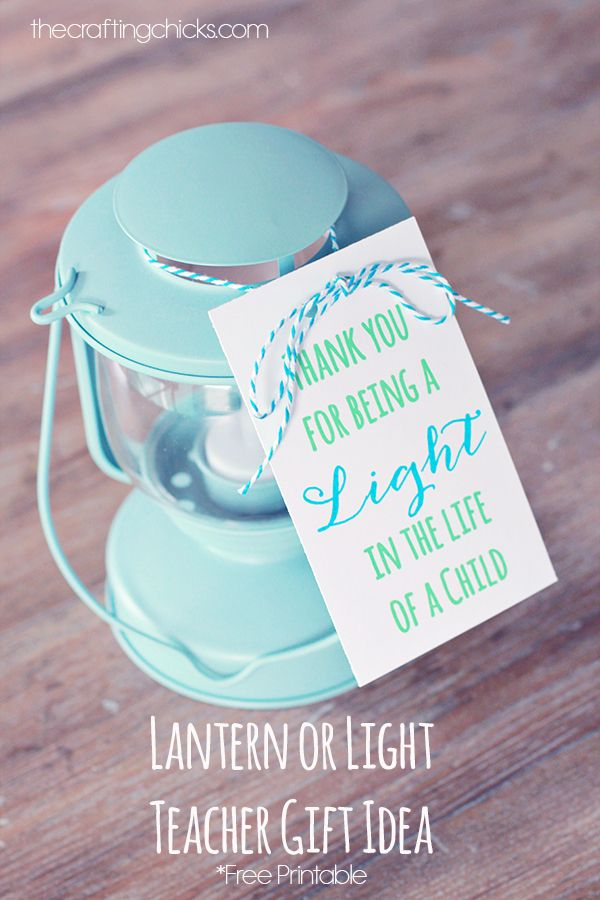 "Sharing a little teacher gift idea today! I love these lanterns I found at Ikea…and made this little printable to go along with it. ""Thank..."
