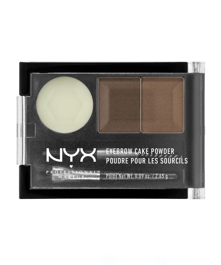 Eyebrow Cake Powder by NYX Professional Makeup  A super-affordable way to sculpt those brows. This brow set includes 2 shades which can be used on their own or mixed together, a setting wax plus 2 brushes. Available in 4 shades. #affiliate