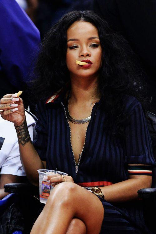 Rihanna Basketball Game French Fries Badasssss
