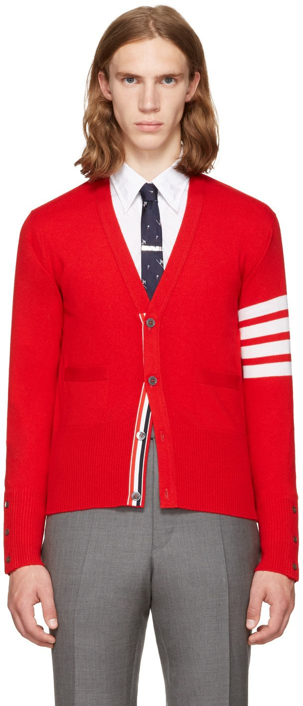 THOM BROWNE Red Classic V-Neck Cardigan. #thombrowne #cloth #cardigan