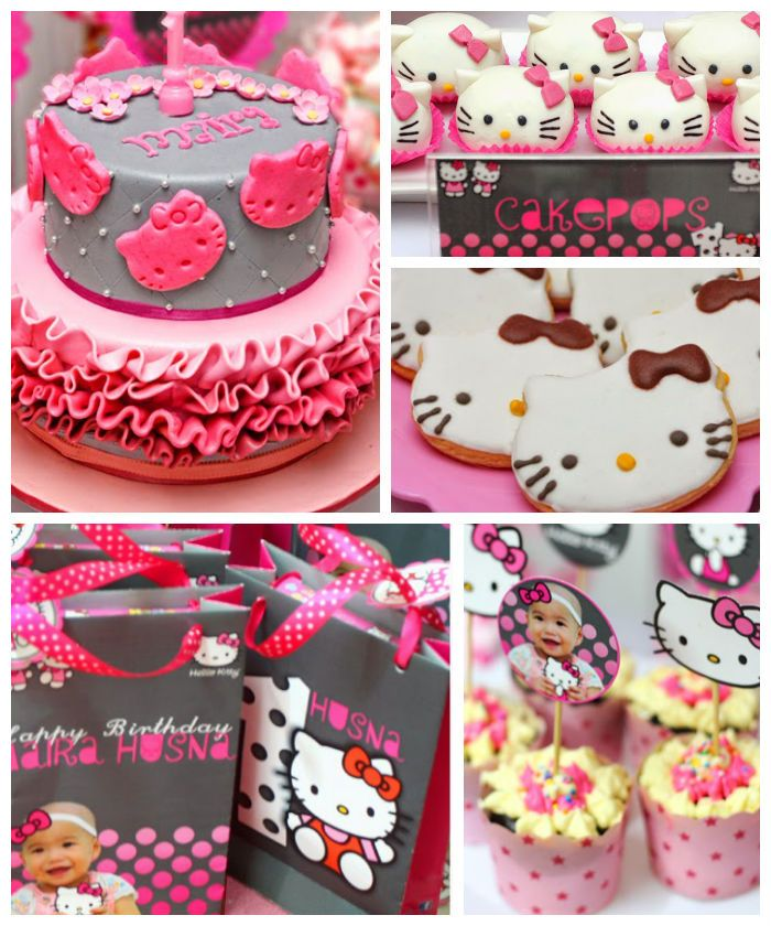 Pink and Grey Hello Kitty themed birthday party with Such Cute Ideas via Kara's Party Ideas! Full of decorating tips, cakes, decor, cupcakes and more! KarasPartyIdeas.com
