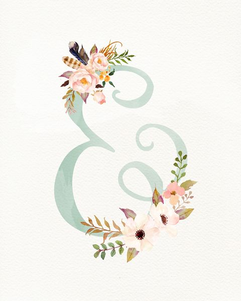 Pretty little floral ampersand symbol ready to freshen up a place on your wall. Download available in 8×10.