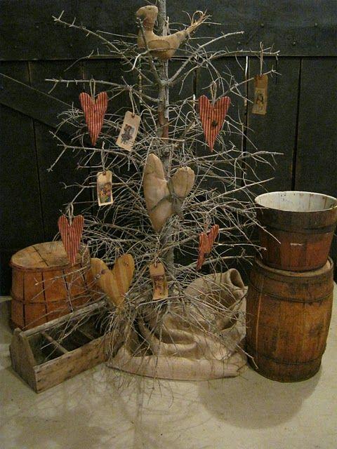 Prim Twiggy Tree...with grungy hearts.