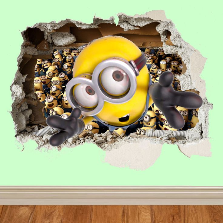 minions wall smash despicable me wall sticker kids childrens bedroom vinyl art in Home, Furniture & DIY, Home Decor, Wall Decals & Stickers | eBay