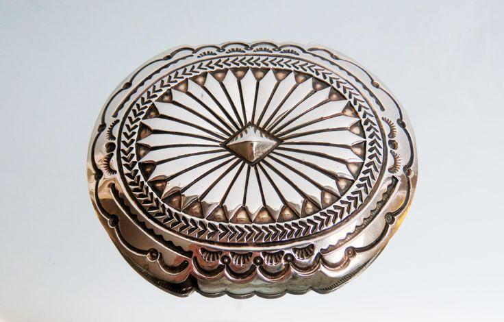 Vintage Navajo Native American sterling silver belt buckle, Vintage NOS Concha Belt oval 54.18 gr by EbyVintage on Etsy