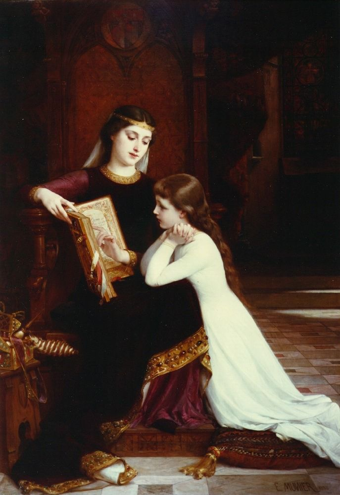 The Reading Lesson — Émile Munier (1840-1895) #classic #art #painting