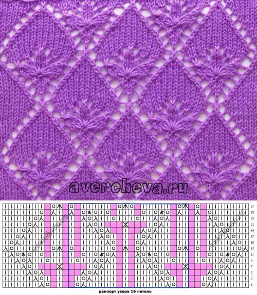 Узор 658 «трилистник в ромбах» | каталог вязаных спицами узоров | Узоры спицами | Постила