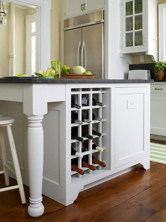 Wine & Dine: This island, which is outfitted with cabinet and drawer space for kitchen essentials, comes complete with a cubby-style wine rack. With slots for up to 15 wine bottles, the addition ensures this home will never come up short while entertaining.