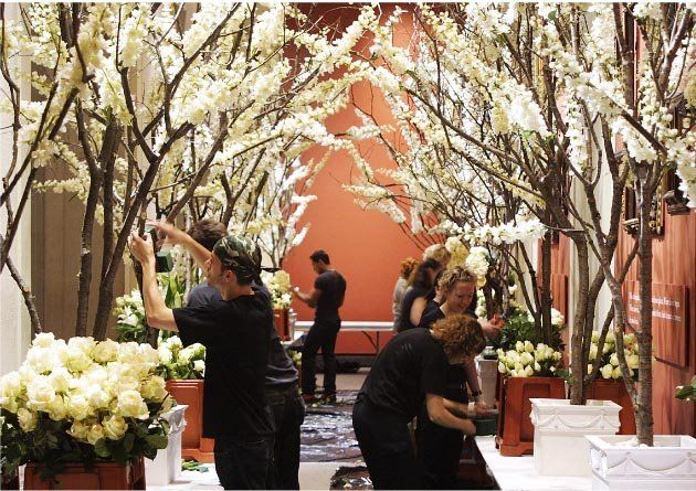 OMG YES! LOVE IT! birch branches wrapped with orchid