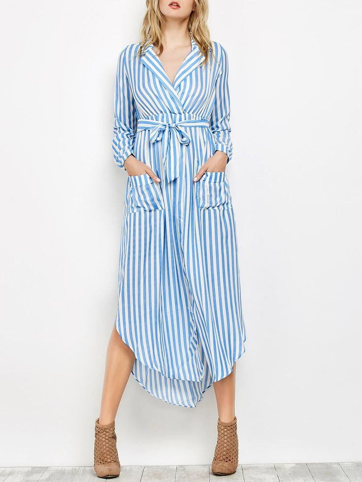 De manga larga a rayas Vestido largo de la solapa - Azul L
