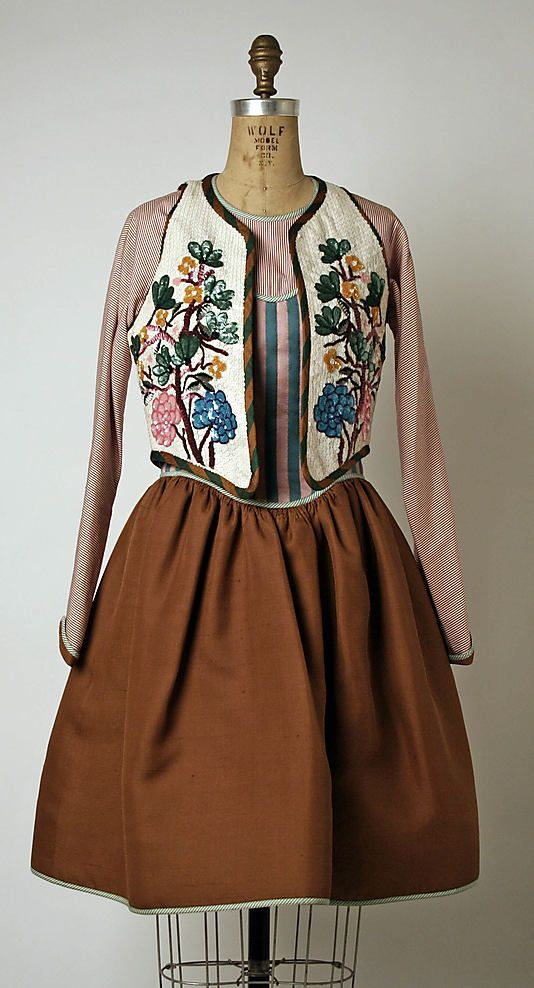 """Silk and cotton """"peasant"""" dress (with beaded and embroidered silk vest), by Geoffrey Beene, American, spring/summer 1988."""