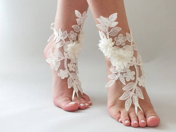 EXPRESS SHIPPING Ivory Foot Jewelry Lace Sandals Beach Wedding Barefoot Anklets Bridal