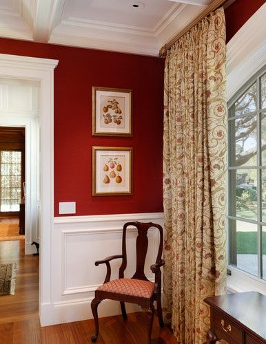 My Dining Room Colors And Chairs! Traditional Window Treatments For A Red  Dining