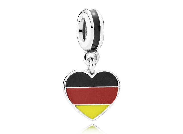 Charm de Prata Pendente Coração Alemão - Bem-vindo - Pandora Joias