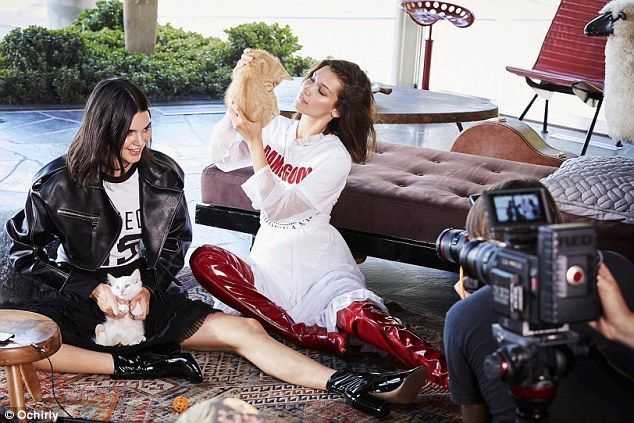 Feline fine! The 21-year-old and 20-year-old respectively were seen cuddling up to the furry felines in the Fall campaign for Ochirly, released on Saturday