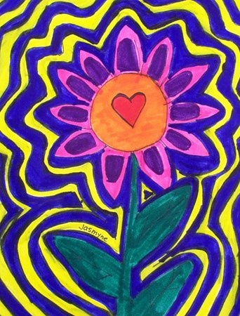 Radiating Flowers... complementary colors in background could work...